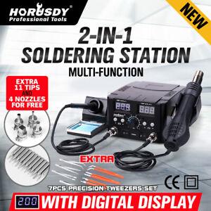 2in1 Soldering Solder Station Rework Iron Hot Air Gun Digital SMD Desoldering
