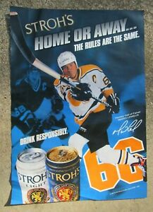Mario Lemieux Stroh's Beer Poster Sign Pittsburgh Penguins Hockey 1998