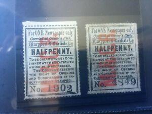 MARYPORT & CARLISLE RAILWAY: 1/2d MINT & USED NEWSPAPER PARCEL STAMPS - NICE!
