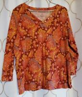 Pendleton Size M Orange Floral Henley Top 3/4 Sleeve Cotton Stretch Blouse Shirt