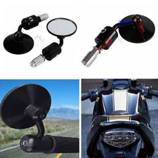"""Black Motorcycle CNC Aluminum Rearview 3"""" Handle Bar End 7/8"""" Side Mirrors Round"""