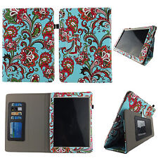AQUA PAISLEY FOLIO CASE IPAD 2/3/4 SLIM FIT POCKET TABLET STAND COVER