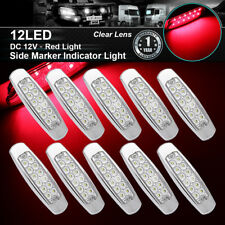"""10x 6.15"""" Red Clear Lens Side Marker Clearance Light 12LED Pigtail Truck Trailer"""