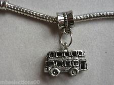 1 x 3D Bus Double Decker London Tibetan Silver Charm suit European Bracelet DIY