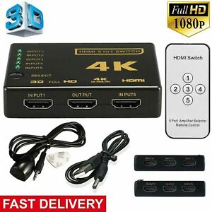 5 Port HDMI 4K Switch Switcher Selector Splitter Hub iR Remote For HDTV 3840p UK