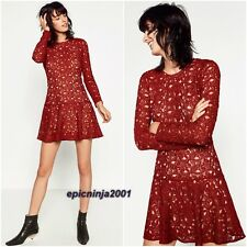 ZARA RED/BURGUNDY GUIPURE DRESS WITH LONG SLEEVES SIZE XS UK 6 OR SMALL 8
