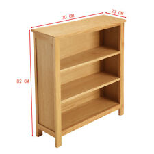 Oak Small Bookcase Solid Wood Low Storage Unit Shelves Display Uk