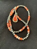 """Native American Navajo Red Spiny Oyster Sterling Silver 20"""" Pendant Necklace 374"""