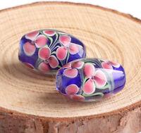 10pcs handmade Lampwork glass drum shape blue flower beads 12*18mm
