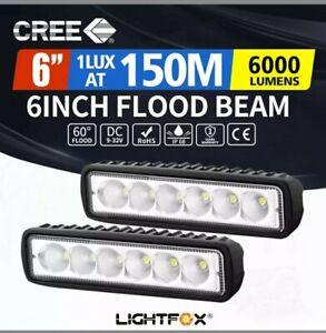 LighFox Pair 6inch Cree LED Work Light Bar Flood Beem Lamp Reverse Off-road 4x4