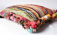 "24"" Large Multi Chindi Rag Rug Decorative Sofa Cushion Pillow Throw Cover Bohemi"