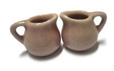 2 Mini Pink Round  Water Pitcher Jug Dollhouse Miniatures Ceramic Kitchenware