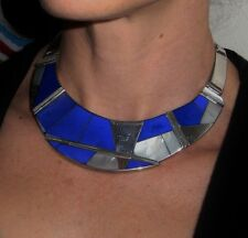 Cleopatra Collar Necklace Earring Set Lapis Sterling Inlay Modernist 1970s R3406