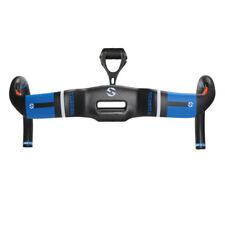 Toseek Carbon Fiber Aero Handlebar Uplift Style Racing Drop Bar With Mount Blue