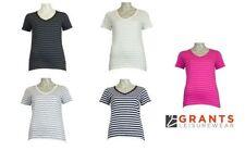 Cotton V Neck Regular Size Striped T-Shirts for Women