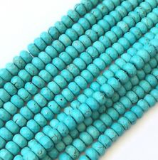 Genuine Faceted Rondelle Blue Turquoise beads Gemstone Beads-Jewelry Supplies