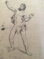 Grand Dessin mine de plomb 1850 anatomie nu homme Académique