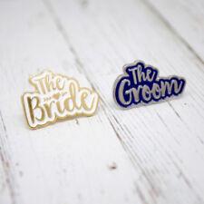Bride & Groom Wedding Enamel Lapel Pin Badges Set ~ Bride and Groom Wedding Gift