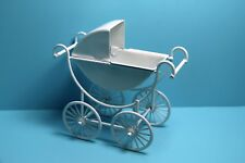 Dollhouse Miniature Victorian Baby Carriage Stroller Buggy in White Metal T8433