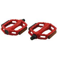 Metal MTB BMX Bike Bicycle Platform Pedals Red 14mm Axle Pair ED