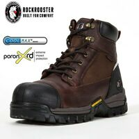 ROCKROOSTER Men's Work Boots Composite Toe Wateproof Anti-Puncture Leather Boots