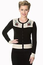 Banned Young Love Black Swallow Nautical Cardigan Vintage Rockabilly 8-16