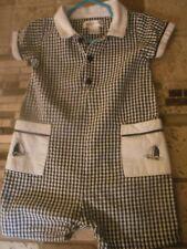 Boys Jon Jon/Shortall/Romper 1pc Outfit,12M,Black White Seersucker, Collar
