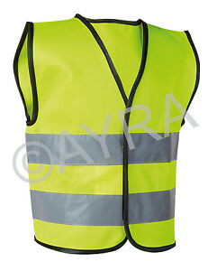 Hi Vis Yellow High Viz Childrens Vest Visibility Waistcoat Kids Childs Ayra