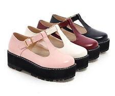 Cute Women's Mary Janes T-Strap Creeper Preppy Girl Goth Platform Oxford Shoes