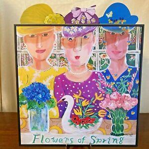 "Nancy Thomas 2005 Design ""Flowers of Spring"" Print Plaque 3 Ladies Flowers Hats"