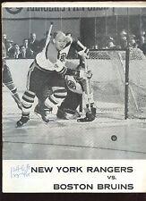 October 12 1961 NHL Hockey Program Boston Bruins at New York Rangers