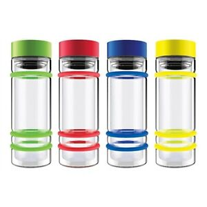 New with Box - Double Wall Tea infuser glass Bottle with Bumper ring ( yellow )
