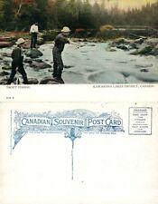 KAWARTHA LAKES DISTRICT CANADA TROUT FISHING ANTIQUE POSTCARD