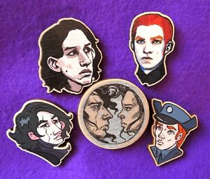 Star Wars Kylo Ren Rey General Hux KYLUX REYLO wooden Pin Badge GIFT Kylo Hux