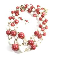 """VINTAGE 3 Tier BEAD NECKLACE Red White LUCITE Clear CRYSTAL 17"""" BEADED"""