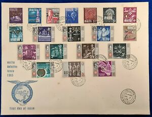 1965 Malta QEII DEFINITIVE ISSUE FULL SET FDC FIRST DAY COVER - SG330-348