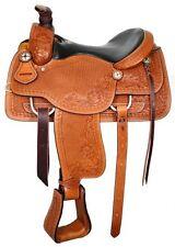 "Circle S Roper Roping Leather Saddle 16"" Seat Acorn & Barbwire Tooling"