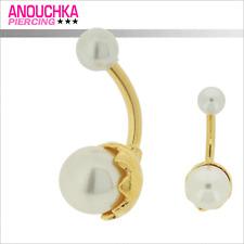 Piercing Nombril Argent 925 Plaqué Or 18 Carats Double Perle