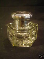 NICE VICTORIAN PERIOD HEAVY CUT GLASS INKWELL, ENGLISH STERLING SILVER TOP
