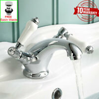 Traditional Chrome White Ceramic Levers Monobloc Basin Mixer Tap for Bathroom *W