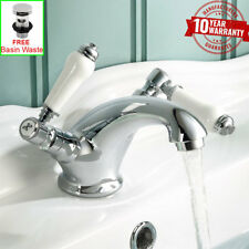 Traditional Chrome White Ceramic Levers Monobloc Basin Mixer Tap for Bathroom *W