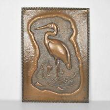 Kupferbild - Wandbild - Kranich - Reiher - Vogel - Reliefbild - Kupferbild - alt