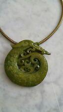 Antique1920's -Charlie Chan Jade Dragon Pendant, Gold Gilt Fancy Chain Necklace
