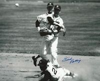 Frank Bolling w/ Roberto Clemente Sliding Signed Milwaukee Braves 8x10 Photo COA
