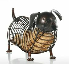 Wine Cork Container Iron Metal Animal Figurines Dachshund Patterned Decorations