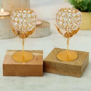 """Flower Shape Tea Light Candle Holder Stand Of Metal & Crystal ( Pack of 2,6x3"""")"""