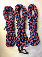 """SET OF 3x 14mm """"Harlequin"""" MOORING ROPES with ROPE SHACKLE 2 X 10MTR 1 X 12MTR"""