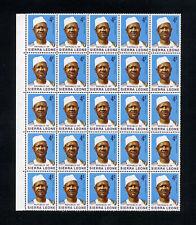 SIERRA LEONE 1972-78 Chalk surfaced paper Blocks of 25 MNH / UMM   (S*-10)