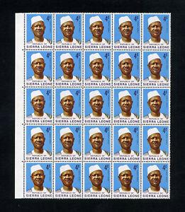 SIERRA LEONE 1972-78 Chalk surfaced paper Blocks of 25 MNH / UMM