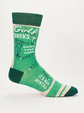 Blue Q Mens Socks-Golf Socks-Swing Your Thing-It's All Mental-Green-New-OSFA